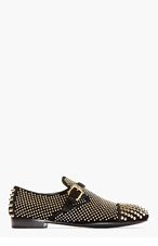 GIUSEPPE ZANOTTI Black Studded Suede Buckled Loafers for men