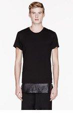 EN NOIR BLACK LEATHER UNDERLAY T-shirt for men