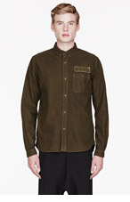 WHITE MOUNTAINEERING Olive Flannel OVERDYED SHIRT for men