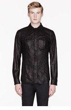 BELSTAFF Black textured leather HAROLD shirt for men