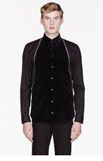 GIVENCHY Black velvet-paneled zp trimmed shirt for men