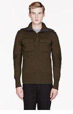BELSTAFF Olive knit ribbed WATKIN sweater for men