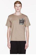 WHITE MOUNTAINEERING Beige Jersey Jacquard pattern Switching pocket t-shirt for men