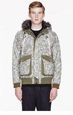 WHITE MOUNTAINEERING Khaki & Grey Fur-trimmed Camouflage jacket for men