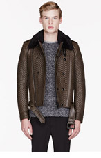 BELSTAFF Brown leather & shearling quilted BUCKTON jacket for men