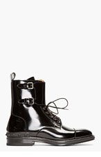 VALENTINO Black Patent Leather Buckled Stud Boots for men