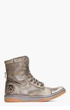 DIESEL Grey Leather Basket Butch Boots for men