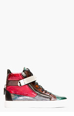 GIUSEPPE ZANOTTI Red Iridescent Leather Colorblock London Sneakers for men