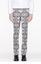 ALEXANDER MCQUEEN Black & White STAINED GLASS TROUSERS for men