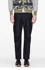 WHITE MOUNTAINEERING Navy ANTIQUE WET SATIN ANKLE SLIM ADJUSTER PANTS for men