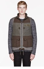 WHITE MOUNTAINEERING Olive DOWN WINDSTOPPER MEMORY WEATHER MICRO PEACH LUGGAGE VEST for men