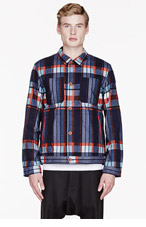 WHITE MOUNTAINEERING Navy & Red Twill Flannel Plaid jacket for men
