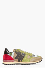 VALENTINO Green Patchwork Studded Camo Sneakers for men