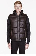 MARC BY MARC JACOBS Brown LEATHER quilted VEST for men