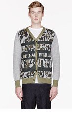 WHITE MOUNTAINEERING Green & Grey KNIT CAMOUFLAGE PATTERN CARDIGAN for men