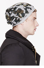 WHITE MOUNTAINEERING Grey & green CAMOUFLAGE PATTERN KNIT CAP for men