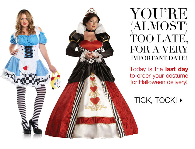 Today is the last day to order your costume for Halloween delivery!