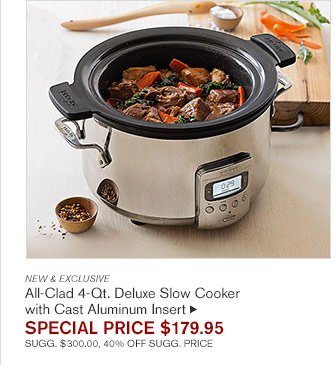 NEW & EXCLUSIVE All-Clad 4-Qt. Deluxe Slow Cooker  with Cast Aluminum Insert SPECIAL PRICE $179.95 SUGG. $300.00, 40% OFF SUGG. PRICE