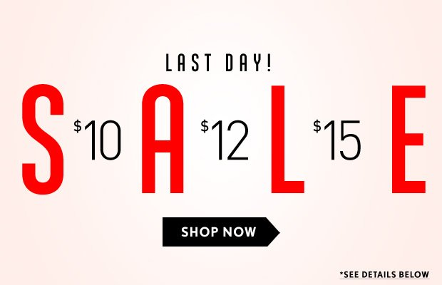 Last Day! Price Point Sale
