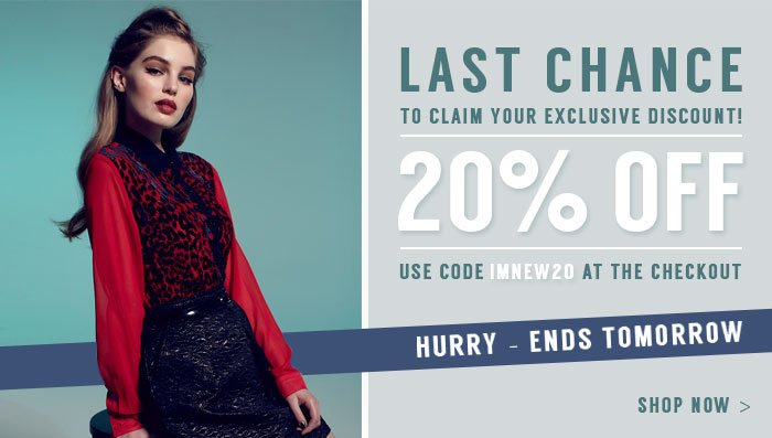 20% off use code imnew20