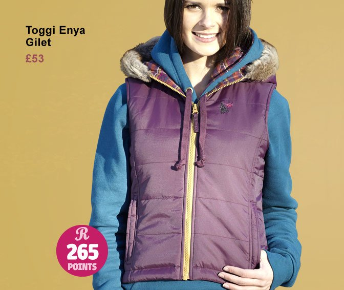 Toggi Enya Gilet £53 (Earn 265 Rider Reward points worth £2.65)