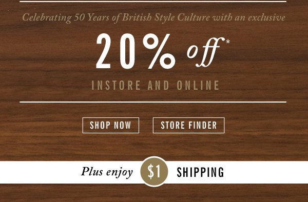 Celebrating 50 years of British Style Culture with an exclusive 20% off
