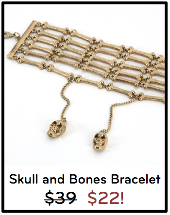 Gold Skull and Bones Linked Bracelet