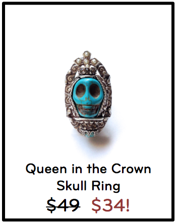 Silver queen crown ring with turquoise skull.
