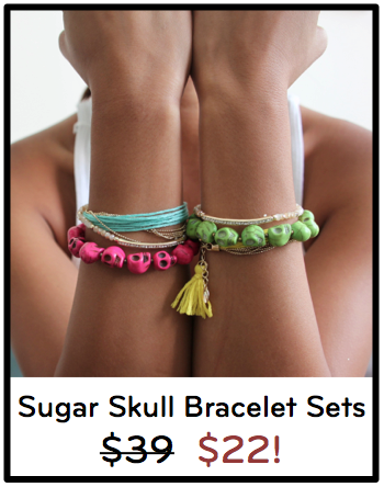 Colorful Sugar Skull Bracelet Set in Pink and Lime Green