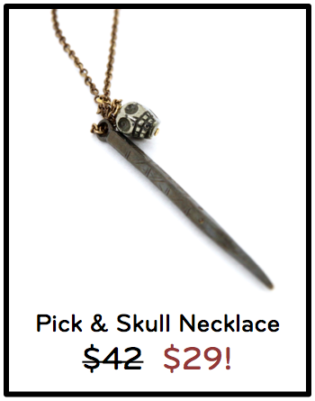 Pick and Skull silver and brass necklace