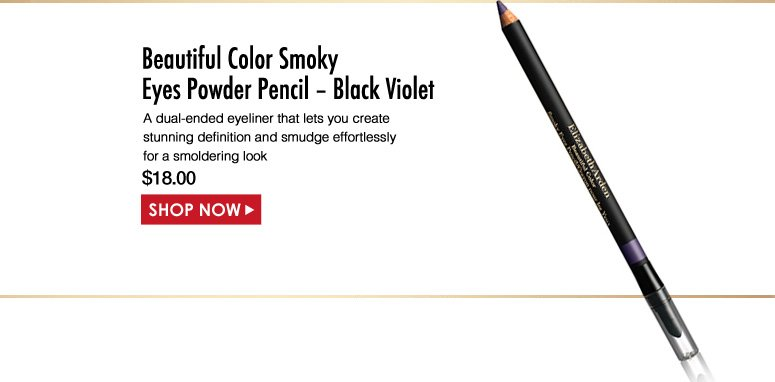 Elizabeth Arden Beautiful Color Smoky Eyes Powder Pencil – Black Violet  A dual-ended eyeliner that lets you create stunning definition and smudge effortlessly for a smoldering look. $18.00 Shop Now>>