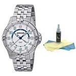 Wenger 77079 Men's Stainless Steel White Dial Swiss Watch with 30ml Ultimate Watch Cleaning Kit