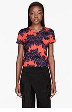 JONATHAN SAUNDERS Orange & Blue lace-print Boyfriend T-Shirt for women