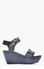 MARNI Navy Leather Wedge Sandals for women