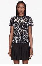 PROENZA SCHOULER Black & White Neoprene Cut-Out Applique T-Shirt for women