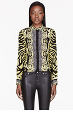 VERSACE Yellow Animal & rococo Print Blouse for women
