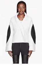 MAISON MARTIN MARGIELA Ivory ribbed leather-patched Sweater for women