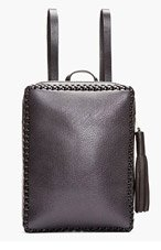 WENDY NICHOL Black Braided Leather Folio Backpack for women