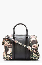 GIVENCHY Black Leather Floral Lucrezia Duffle Bag for women