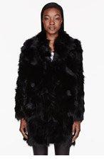 VERSUS Black Fur Long Overcoat for women