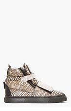 GIUSEPPE ZANOTTI Gunmetal Snakeskin Metal-Plated Faraone Sneakers for women