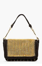 VERSUS Black Suede Chainmail Shoulder Bag for women
