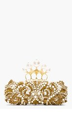 ALEXANDER MCQUEEN Gold Beaded Embroidered Pearl Knucklebox Clutch for women