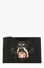 GIVENCHY Black Textured Rottweiler Antigona Pouch for women
