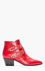 SAINT LAURENT Red Studded & Buckled leather Rock Boots for women