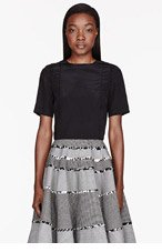 THOM BROWNE Black silk & lace Pintuck T-Shirt for women