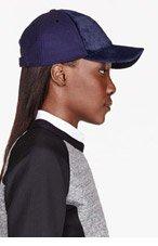 NEIL BARRETT Blue Calf-Hair Basbeall Cap for women