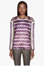 BALMAIN Purple Printed Stripe Crewneck for women