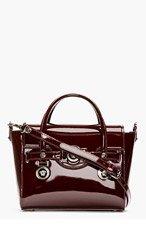 VERSACE Burgundy Patent Leather Shoulder Bag for women