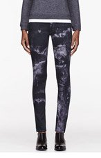 MOTHER Black marbled The Muse Freja edition Straight Skinny jeans for women